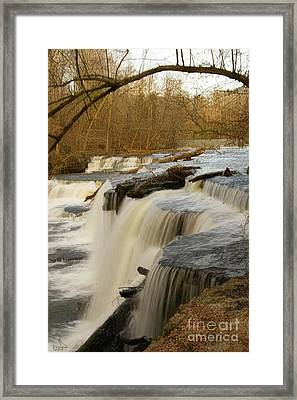 Falls At Old Stone Fort Framed Print by Michael Flood