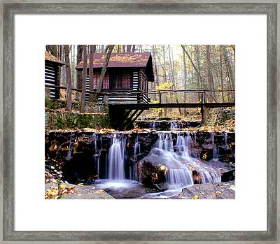 Falls On Friends Creek Mirrored Version   Framed Print by L Granville Laird