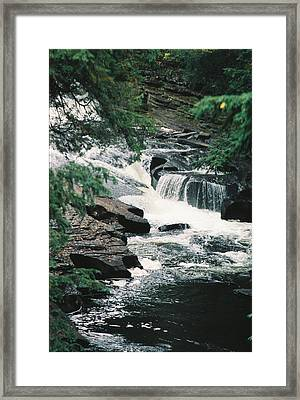 Falls On Presque Isle River Framed Print by C E McConnell