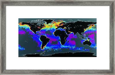 False-col Satellite Image Of World's Oceans Framed Print by Dr Gene Feldman, Nasa Gsfc