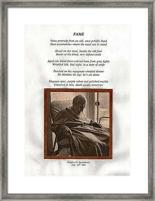 Fame Framed Print by Douglas Beatenhead