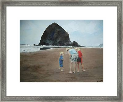 Family By The Sea Framed Print