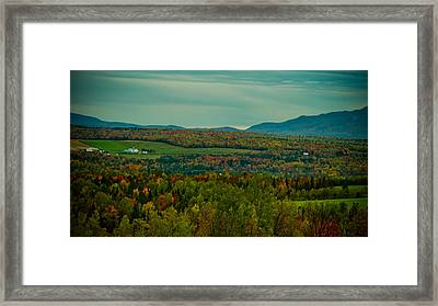 Family Farm In A Fall Foliage Landscape - Vintage Photography Framed Print by Chantal PhotoPix