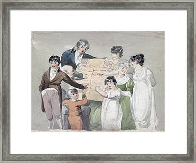 Family Group - Smith, His Wife And Six Framed Print by Everett