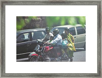 Family Off To Shop Framed Print