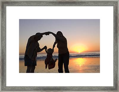 Family Portrait On The Beach At Sunset Framed Print by Rich Reid