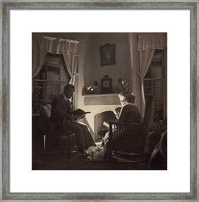 Family Reads At The Fireside. 1935 Framed Print by Everett