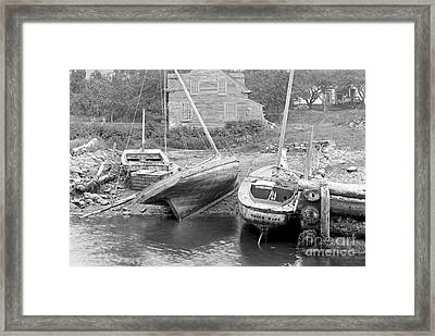 Family Wharf At Kittery Point In Maine 1900 Framed Print by Padre Art