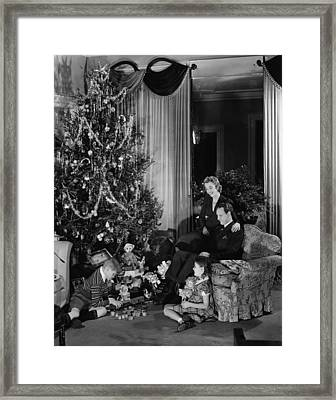 Family With Two Children (6-9) Sitting At Christmas Tree, (b&w) Framed Print by George Marks