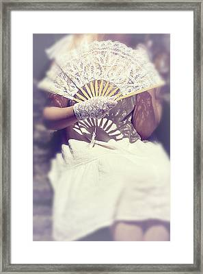 Fan And Lace Gloves Framed Print by Joana Kruse