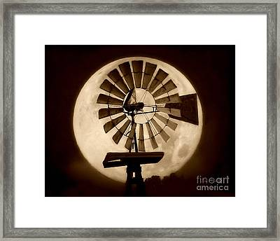 Fan In The Moon Framed Print