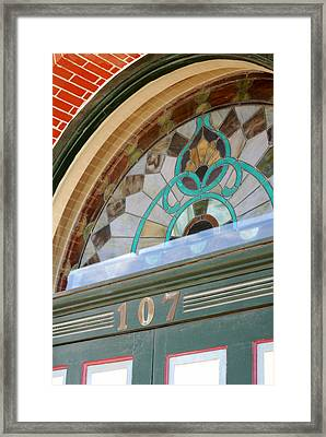 Fan Of Antique Stained Glass Framed Print by Connie Fox