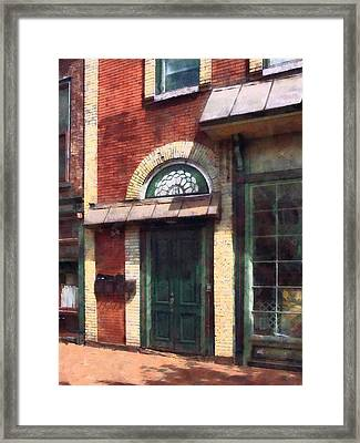 Fancy Green Door Burlington Nj Framed Print by Susan Savad