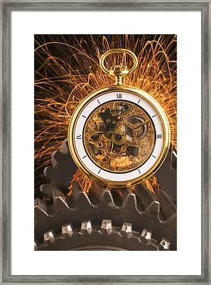 Fancy Pocketwatch On Gears Framed Print by Garry Gay