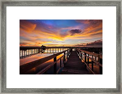 Fantastic Sky On Wood Bridge Framed Print by Arthit Somsakul