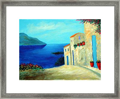 Framed Print featuring the painting Fantisy By The Sea by Larry Cirigliano
