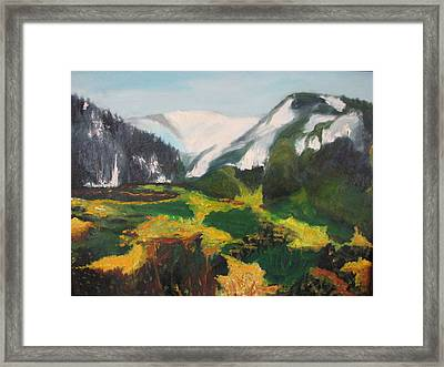 Far Away Mountains Framed Print by Iris Nazario Dziadul