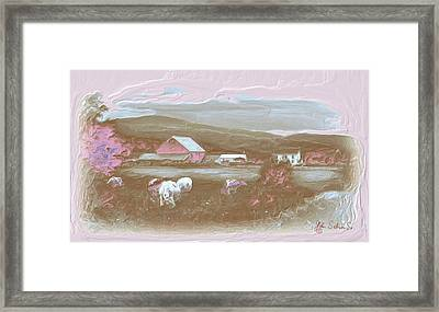Farm   In Pink Framed Print by John Selmer Sr