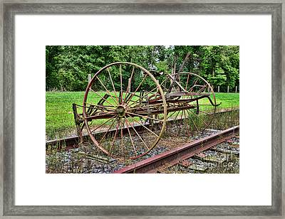 Farm - Horse-drawn Combine Framed Print by Paul Ward