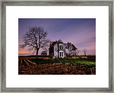 Farm House At Night Framed Print