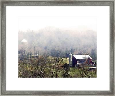 Farm In The Valley Framed Print by Kathy Jennings