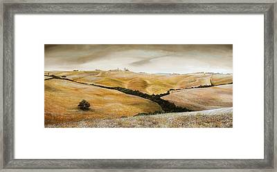 Farm On Hill - Tuscany Framed Print