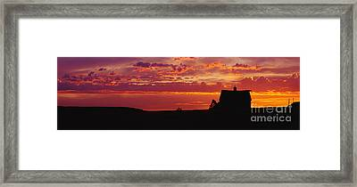 Farm Sunset Framed Print by Joe Sohm and ChromoSohm and Photo Researchers