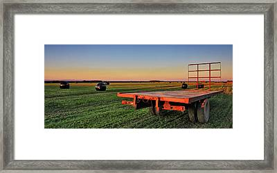 Farm Trailer With Bales At Sunset Framed Print