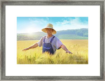 Farmer Checking Put His Crop Of Wheat Framed Print by Sandra Cunningham