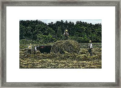 Farmers Haying Framed Print by Robert Goudreau