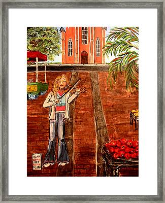 Framed Print featuring the painting Farmer's Market Fiddler by Lyn Calahorrano