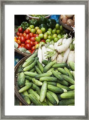 Farmers Market Vegetables Cucumber; Framed Print by Roberto Westbrook