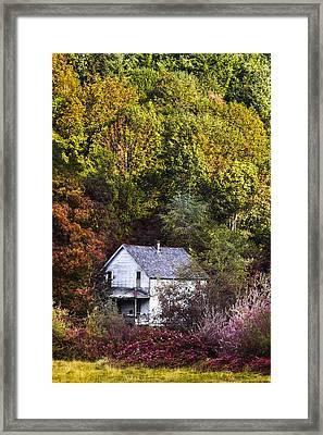 Farmhouse In Fall Framed Print