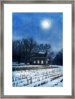 Farmhouse Under Full Moon In Winter Framed Print by Jill Battaglia