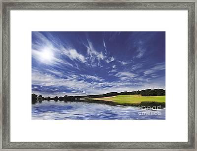 Farmland And Lake Framed Print by Simon Bratt Photography LRPS