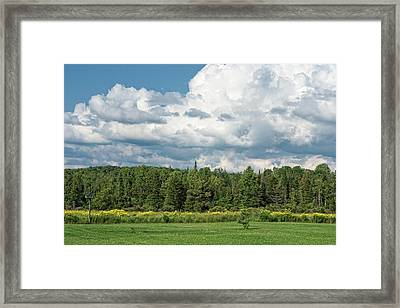 Farmland, Forests And Clouds On Sunny Day Framed Print by Denise Taylor