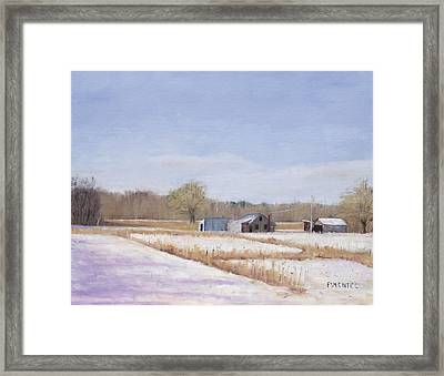 Farmland In Winter  Concord Massachusetts Framed Print by Mark Pimentel