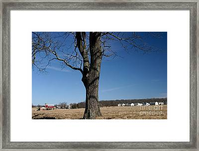 Farmland Versus Development Framed Print by Karen Lee Ensley