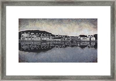 Framed Print featuring the drawing Farsund Waterfront by Janet King