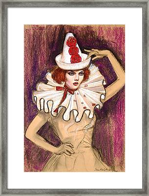 Framed Print featuring the drawing Fashion Clown by Sue Halstenberg
