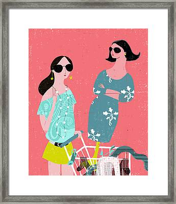 Fashion Woman Holding Trolley Framed Print