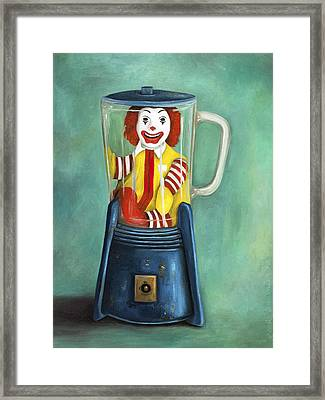 Fast Food Nightmare 2 The Happy Meal Framed Print by Leah Saulnier The Painting Maniac