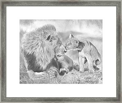 Father And Cub Framed Print