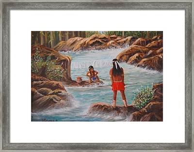Father And Son Fishing Day Framed Print by Janna Columbus