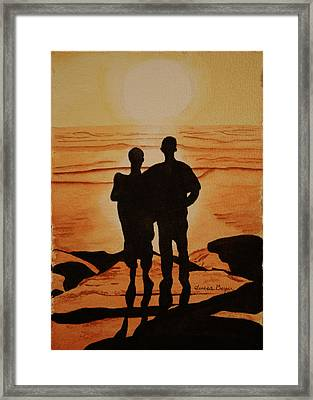 Framed Print featuring the painting Father And Son by Teresa Beyer