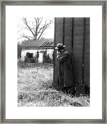 Fbi Agents With An Huge Portable Phone Framed Print by Everett