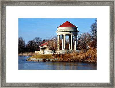 Fdr Park Gazebo And Boathouse Framed Print by Bill Cannon