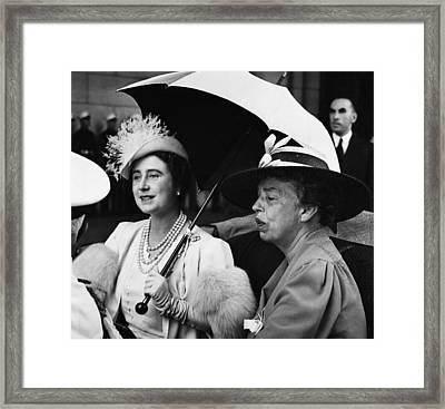 Fdr Presidency. British Queen Elizabeth Framed Print by Everett