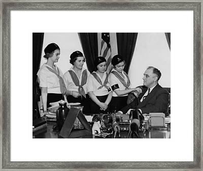 Fdr Presidency.  Campfire Girls Framed Print