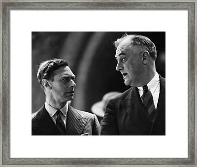 Fdr Presidency. King George Vi Framed Print by Everett